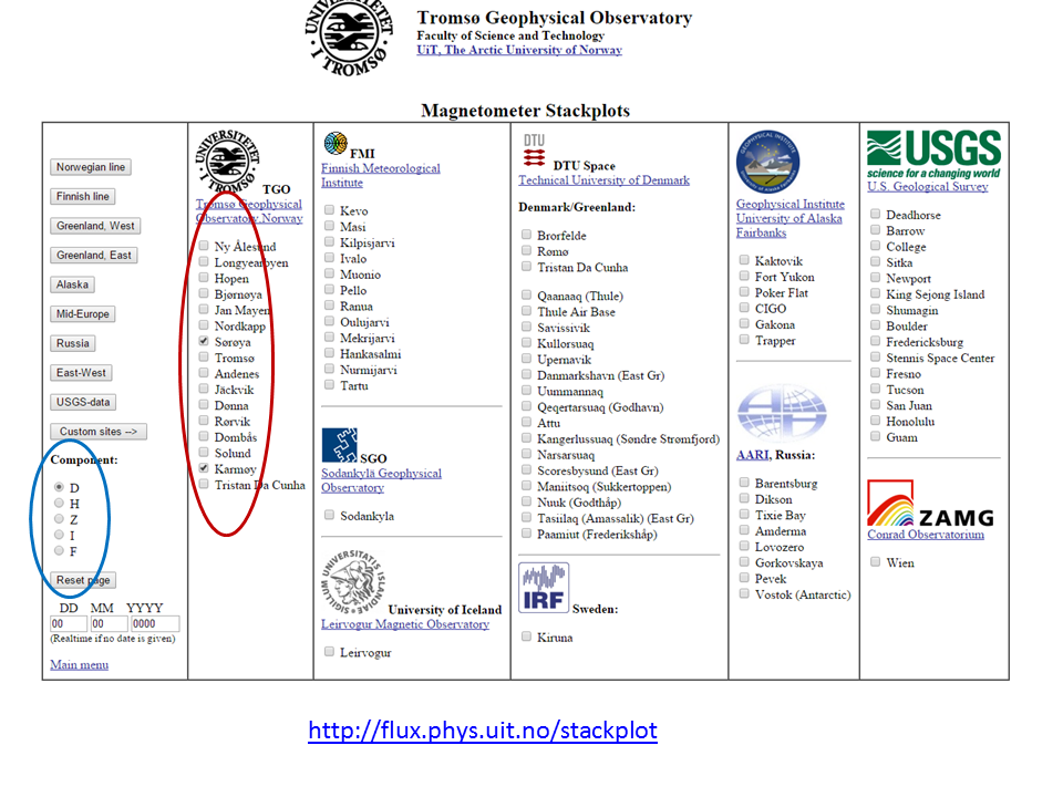Startside for magnetometerdata frå Tromsø Geofysiske Observatorium